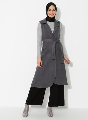 Gray - Unlined - Shawl Collar - Vest
