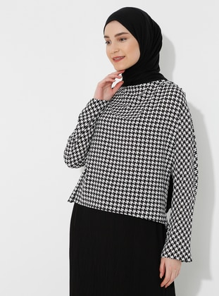 Black - Houndstooth - Blouses
