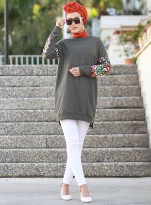 Khaki - Floral - Crew neck - Acrylic -  - Tunic - Por La Cara