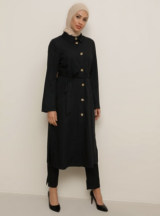 Black - Point Collar - Trench Coat