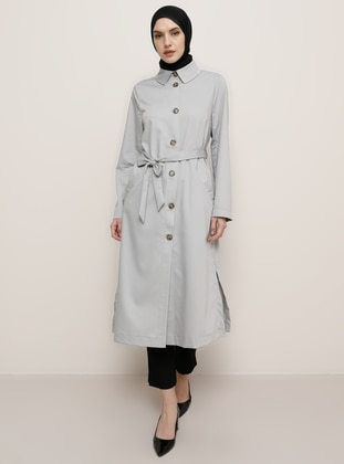 Gray - Point Collar - Trench Coat