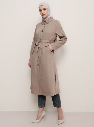 Mink - Point Collar - Trench Coat - Tavin