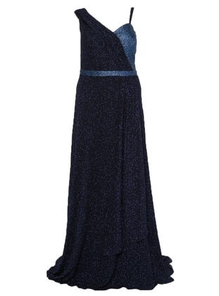 Navy Blue - Fully Lined - Sweatheart Neckline - Muslim Plus Size Evening Dress