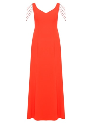 Coral - Fully Lined - V neck Collar - Muslim Plus Size Evening Dress