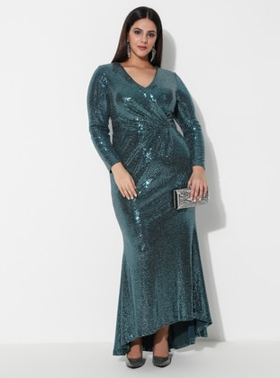 Petrol - Fully Lined - V neck Collar - Muslim Plus Size Evening Dress