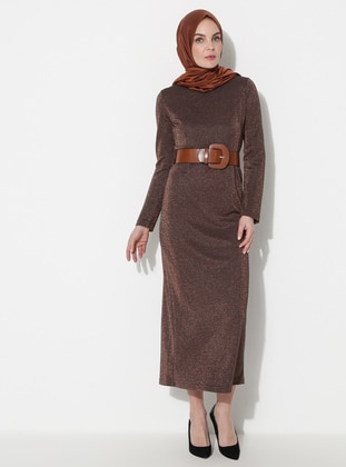 Brown - Crew neck - Unlined -  - Dress -  By Tuğba