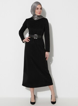 Black - Crew neck - Unlined -  - Dress -  By Tuğba