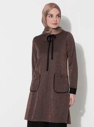 Brown - Polo neck - Viscose - Tunic -  By Tuğba