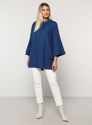 Indigo - Crew neck - Viscose - Plus Size Tunic