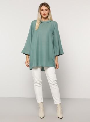 Sea-green - Crew neck - Viscose - Plus Size Tunic