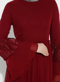 Maroon - Half Lined - Crew neck - Muslim Evening Dress