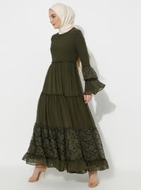Khaki - Half Lined - Crew neck - Muslim Evening Dress