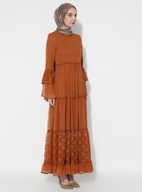 Mustard - Half Lined - Crew neck - Muslim Evening Dress