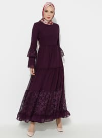 Purple - Half Lined - Crew neck - Muslim Evening Dress