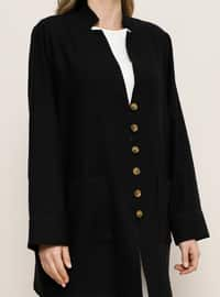Black - V neck Collar - Unlined -  - Plus Size Jacket