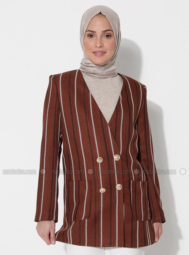 Brown - Stripe - Fully Lined - V neck Collar - Jacket