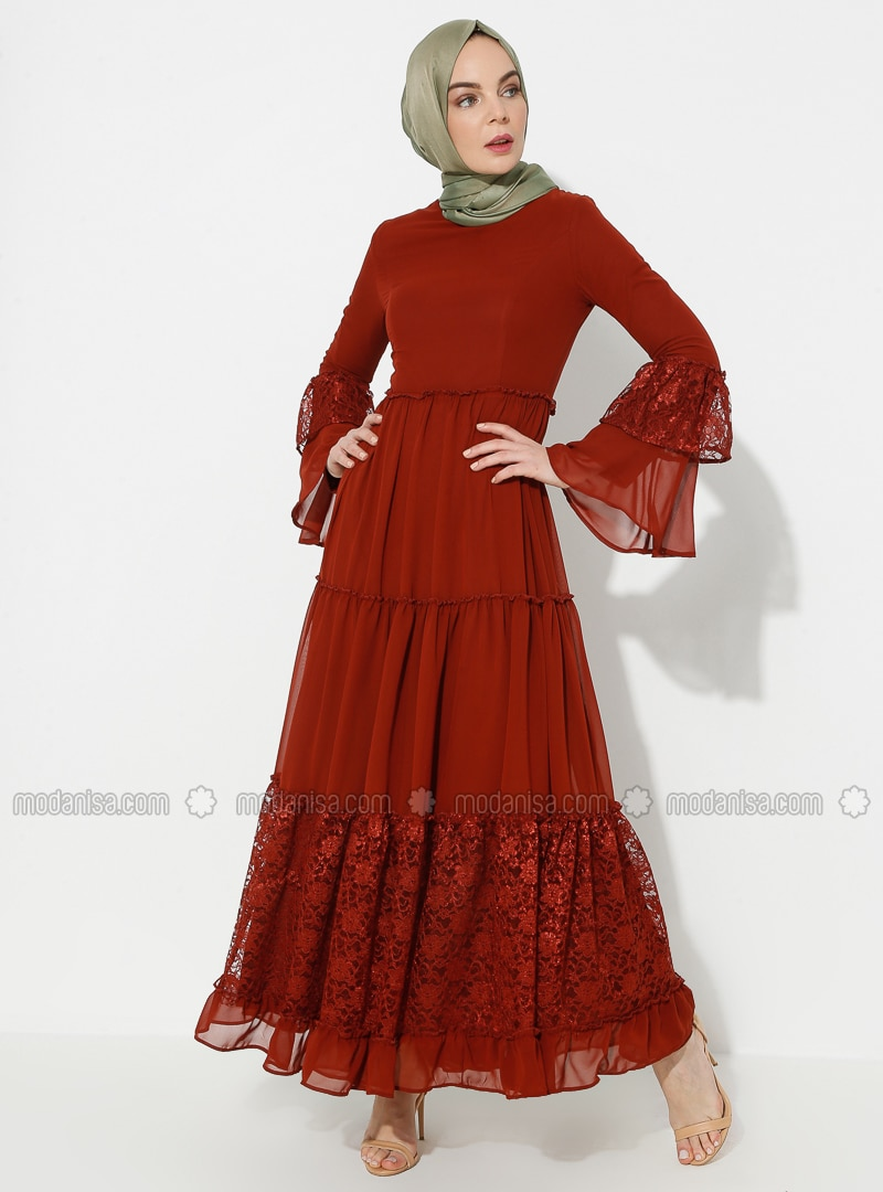 Terra Cotta - Half Lined - Crew neck - Muslim Evening Dress