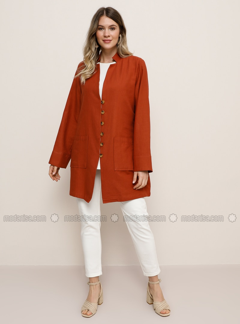 Cinnamon - V neck Collar - Unlined -  - Plus Size Jacket