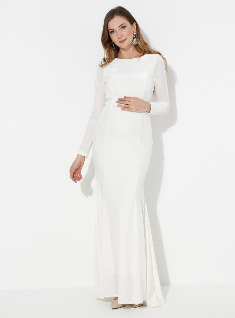 Tesettür Hamile Abiye Moda Labio Beyaz Kadın 36