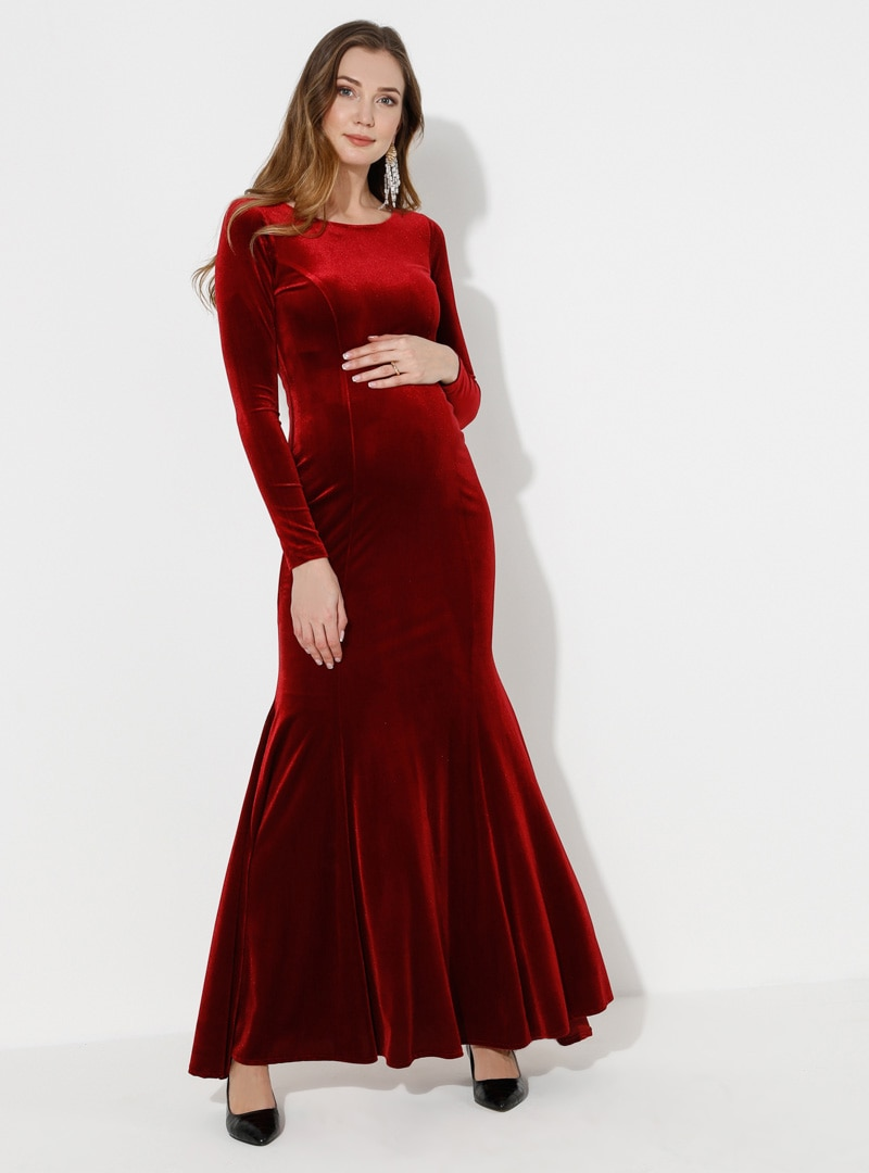 Tesettür Hamile Abiye Moda Labio Kırmızı Kadın 46
