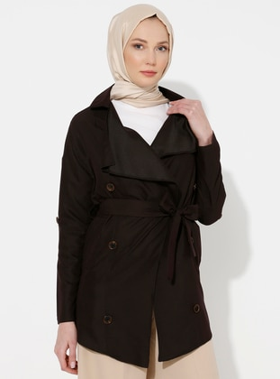 Brown - Unlined - Shawl Collar -  - Trench Coat
