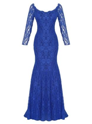 Saxe - Fully Lined - V neck Collar - Muslim Evening Dress
