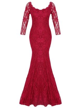 Powder - Cherry - Fully Lined - V neck Collar - Muslim Evening Dress