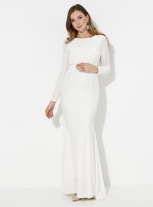 White - Fully Lined -  - Crew neck - Maternity Evening Dress - Moda Labio