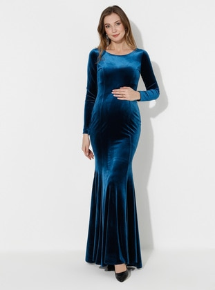Petrol - Petrol - Fully Lined - Cotton - Crew neck - Maternity Evening Dress
