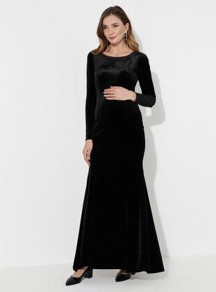 Black - Black - Fully Lined - Cotton - Crew neck - Maternity Evening Dress - Moda Labio