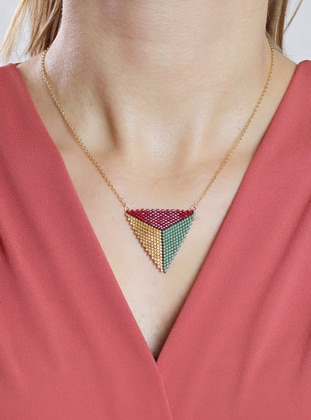 Maroon - Yellow - Green - Necklace
