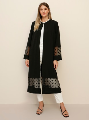 Black - Polka Dot - Plus Size Coat