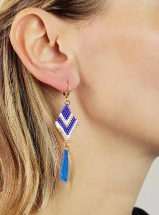 White - Blue - Earring