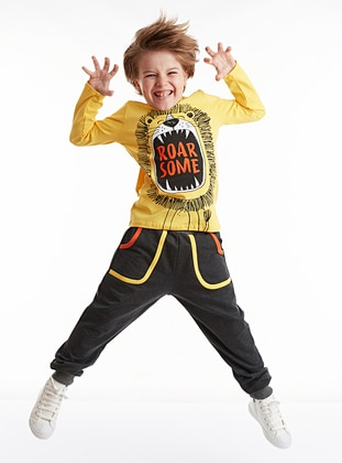 Crew neck -  - Yellow - Boys` Suit - Denokids