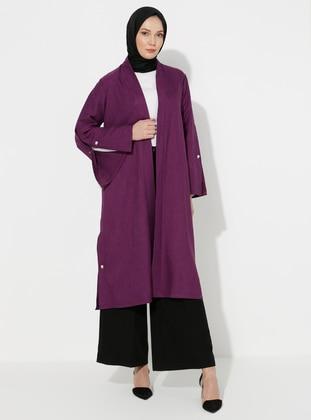 Purple - Unlined - Shawl Collar - Topcoat