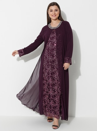 Plum - Fully Lined - Crew neck - Muslim Plus Size Evening Dress - Atay Gökmen