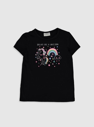 Black - Girls` T-Shirt - LC WAIKIKI