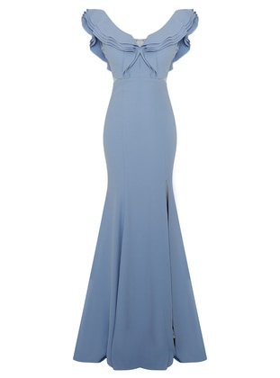 Baby Blue - Fully Lined - Boat neck - Muslim Evening Dress