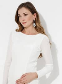 White - Fully Lined - - Crew neck - Maternity Evening Dress