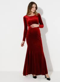 Red - Fully Lined -  - Crew neck - Maternity Evening Dress