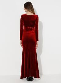 Red - Red - Fully Lined - Cotton - Crew neck - Maternity Evening Dress