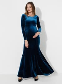 Petrol - Fully Lined -  - Crew neck - Maternity Evening Dress