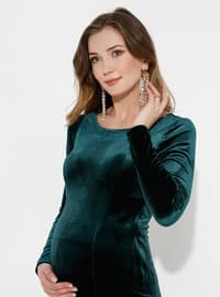 Emerald - Fully Lined -  - Crew neck - Maternity Evening Dress