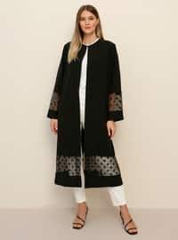 Black - Polka Dot - Plus Size Coat