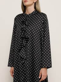 White - Black - Polka Dot - Crew neck - Plus Size Tunic