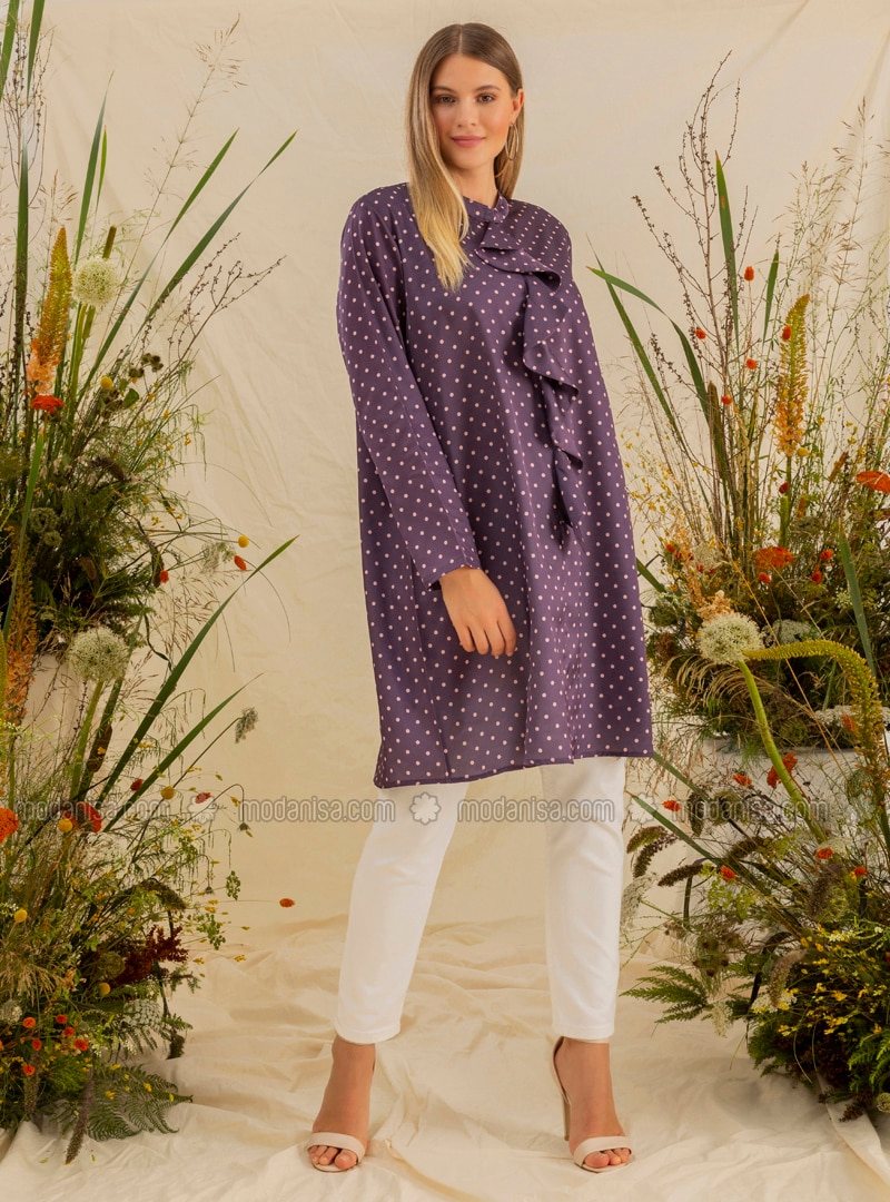 Purple - Powder - Polka Dot - Crew neck - Plus Size Tunic