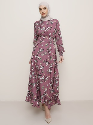 Dusty Rose - Floral - Crew neck - Viscose - Dress