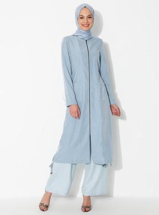 Blue - Crew neck - Unlined - Modal - Dress