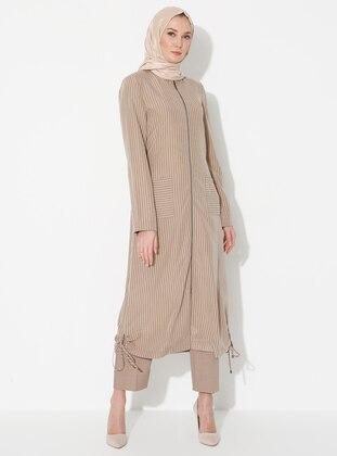 Camel - Crew neck - Unlined - Modal - Dress
