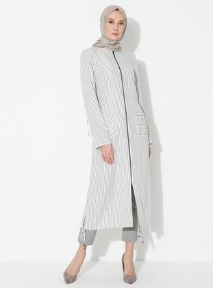 Ecru - Crew neck - Unlined - Modal - Dress